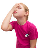 Το άρρωστο κορίτσι με το ιατρικό θερμόμετρο. Στοκ φωτογραφίες με δικαίωμα ελεύθερης χρήσης