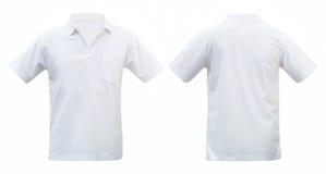 Το άσπρες μέτωπο και η πλάτη μπλουζών απομόνωσαν το άσπρο υπόβαθρο Με το CL Στοκ Φωτογραφίες