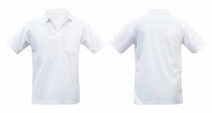 Το άσπρες μέτωπο και η πλάτη μπλουζών απομόνωσαν το άσπρο υπόβαθρο Με το CL Στοκ φωτογραφία με δικαίωμα ελεύθερης χρήσης