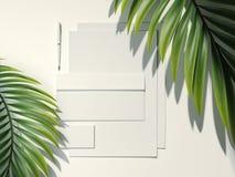 Το άσπροι μαρκάροντας πρότυπο και ο φοίνικας βγάζουν φύλλα τρισδιάστατη απόδοση ελεύθερη απεικόνιση δικαιώματος
