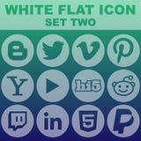 Το άσπρο επίπεδο εικονίδιο έθεσε σε δύο τη διανυσματική εικόνα Στοκ Εικόνες