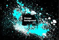 Το άσπρο, μπλε χρώμα, παφλασμός μελανιού, σταγονίδια μελανιού βουρτσών, λεκιάζει Βρώμικα καλλιτεχνικά στοιχεία σχεδίου, κιβώτια,  ελεύθερη απεικόνιση δικαιώματος