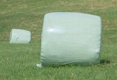 Το άσπρο πλαστικό τύλιξε γύρω από τα δέματα σανού (χορτάρι) στο πράσινο Στοκ φωτογραφία με δικαίωμα ελεύθερης χρήσης