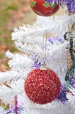 Το άσπρο συγκεχυμένο κόκκινο Χριστουγέννων ακτινοβολεί εκλεκτής ποιότητας διακοσμήσεις Στοκ Φωτογραφίες