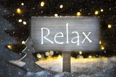 Το άσπρο χριστουγεννιάτικο δέντρο, κείμενο χαλαρώνει, Snowflakes Στοκ Φωτογραφίες