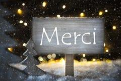 Το άσπρο χριστουγεννιάτικο δέντρο, μέσα Merci σας ευχαριστεί, Snowflakes Στοκ φωτογραφίες με δικαίωμα ελεύθερης χρήσης
