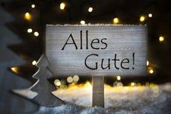 Το άσπρο χριστουγεννιάτικο δέντρο, Alles Gute σημαίνει Με τις καλύτερες ευχές Snowflakes Στοκ Εικόνα