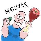 Το άτομο αγαπά το κρέας διανυσματική απεικόνιση