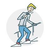 Το άτομο αναρριχείται στα σκαλοπάτια διανυσματική απεικόνιση