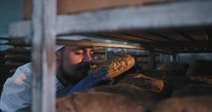 Το άτομο αρτοποιών εργοστασίων αρτοποιείων με τη γενειάδα μέσα του βιομηχανικού ραφιού παίρνει ένα φρέσκο ψημένο ψωμί και πηγαίνε απόθεμα βίντεο
