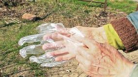 Το άτομο βάζει τα μίας χρήσης γάντια πριν από τη μοριακή εργασία απόθεμα βίντεο
