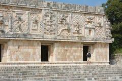 Το άτομο βλέπει του κτηρίου μονών καλογραιών σε Uxmal Μεξικό Στοκ Εικόνες