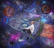Το άτομο γίνεται αστροναύτης Στοκ φωτογραφία με δικαίωμα ελεύθερης χρήσης