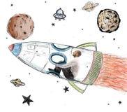 Το άτομο γίνεται αστροναύτης Στοκ Εικόνα