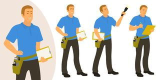 Το άτομο εγχώριων επιθεωρητών θέτει το σύνολο για το infographics ή τη διαφήμιση απεικόνιση αποθεμάτων