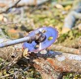 Το άτομο εμπόρων ξυλείας είναι τέμνον ξύλο από το πριόνι Στοκ Εικόνες