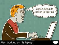 Το άτομο εργάζεται στο lap-top Στοκ Εικόνες