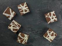 Το άτομο διακόσμησε και πάγωσε τα κέικ Tiffin σοκολάτας Στοκ Εικόνες