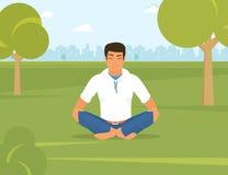 Το άτομο κάνει τη γιόγκα και κάθεται στη θέση λωτού στο πάρκο διανυσματική απεικόνιση