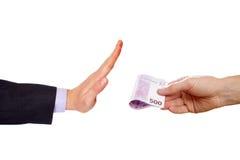 Το άτομο κάνει τη στάση χειρονομίας ενάντια στα χρήματα Στοκ φωτογραφία με δικαίωμα ελεύθερης χρήσης