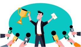 Το άτομο κερδίζει ένα κύπελλο Απεικόνιση τέχνης διανυσματική απεικόνιση