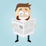 Το άτομο κινούμενων σχεδίων διαβάζει μια εφημερίδα Στοκ Εικόνα