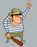 Το άτομο κινούμενων σχεδίων σε ένα κοστούμι πειρατών με το μπαστούνι παρουσιάζει χειρονομία Στοκ εικόνα με δικαίωμα ελεύθερης χρήσης