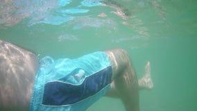 Το άτομο κολυμπά στη θάλασσα απόθεμα βίντεο