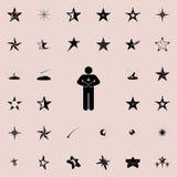 το άτομο κρατά ένα εικονίδιο αστεριών Καθολικό εικονιδίων αστεριών που τίθεται για τον Ιστό και κινητό διανυσματική απεικόνιση