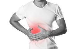 Το άτομο κρατά την πλευρά του Πόνος στο συκώτι κίρρωση 7 07 09 12 το 1962 2010 137124 άρχισαν χτισμένο το γενναιοδωρία του Κλήβελ στοκ εικόνες