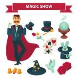 Το άτομο μάγων τσίρκων με μαγικό παρουσιάζει διανυσματικά εξαρτήματα Στοκ Φωτογραφία
