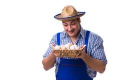 Το άτομο με ένα καπέλο αχύρου και τα αυγά Στοκ εικόνα με δικαίωμα ελεύθερης χρήσης