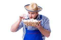 Το άτομο με ένα καπέλο αχύρου και τα αυγά Στοκ φωτογραφίες με δικαίωμα ελεύθερης χρήσης