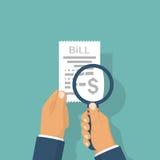 Το άτομο μελετά την πληρωμή του λογαριασμού απεικόνιση αποθεμάτων