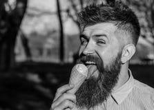Το άτομο με το μακρύ παγωτό γλειψιμάτων γενειάδων, κλείνει επάνω Γενειοφόρο άτομο με τον κώνο παγωτού Άτομο με τη γενειάδα και mu Στοκ φωτογραφίες με δικαίωμα ελεύθερης χρήσης