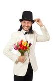 Το άτομο με τα λουλούδια τουλιπών που απομονώνεται στο λευκό στοκ εικόνες με δικαίωμα ελεύθερης χρήσης