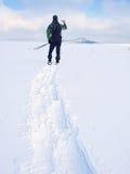 Το άτομο με τα πλέγματα σχήματος ρακέτας και το σακίδιο πλάτης παίρνουν τις φωτογραφίες από το smartphone Οδοιπόρος snowdrift στοκ εικόνα