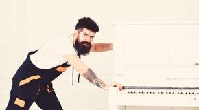 Το άτομο με τη γενειάδα και mustache, εργαζόμενος στις φόρμες ωθεί το πιάνο, το άσπρο υπόβαθρο Ο αγγελιαφόρος παραδίδει τα έπιπλα στοκ εικόνα με δικαίωμα ελεύθερης χρήσης