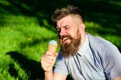 Το άτομο με τη γενειάδα και mustache στο ευτυχές πρόσωπο τρώει το παγωτό, χλόη στο υπόβαθρο, Το άτομο με τη μακριά γενειάδα απολα Στοκ φωτογραφία με δικαίωμα ελεύθερης χρήσης
