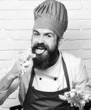 Το άτομο με τη ζύμη γλειψιμάτων γενειάδων από τα δάχτυλα στο άσπρο υπόβαθρο τουβλότοιχος, κλείνει επάνω Έννοια κουζίνας εστιατορί Στοκ εικόνα με δικαίωμα ελεύθερης χρήσης