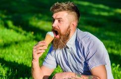 Το άτομο με τη μακριά γενειάδα απολαμβάνει το παγωτό, ενώ κάθεται στη χλόη Έννοια λιχουδιών Γενειοφόρο άτομο με τον κώνο παγωτού  Στοκ εικόνες με δικαίωμα ελεύθερης χρήσης