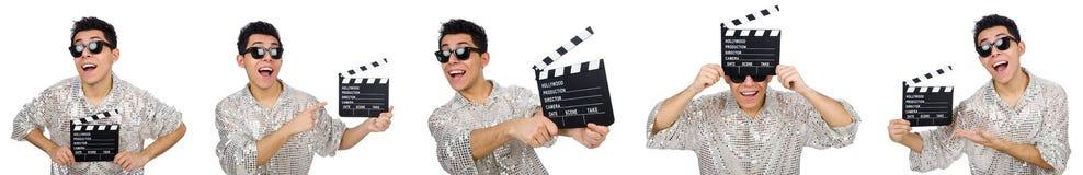 Το άτομο με τον κινηματογράφο clapperboard που απομονώνεται στο λευκό Στοκ εικόνα με δικαίωμα ελεύθερης χρήσης