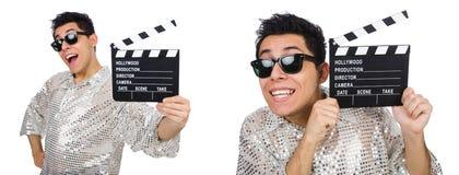 Το άτομο με τον κινηματογράφο clapperboard που απομονώνεται στο λευκό Στοκ Φωτογραφία
