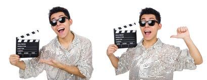 Το άτομο με τον κινηματογράφο clapperboard που απομονώνεται στο λευκό Στοκ εικόνες με δικαίωμα ελεύθερης χρήσης