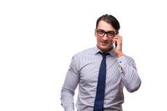 Το άτομο με το κινητό smartphone που απομονώνεται στο λευκό Στοκ Εικόνα