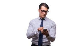 Το άτομο με το κινητό smartphone που απομονώνεται στο λευκό Στοκ Εικόνες
