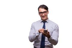 Το άτομο με το κινητό smartphone που απομονώνεται στο λευκό Στοκ φωτογραφία με δικαίωμα ελεύθερης χρήσης