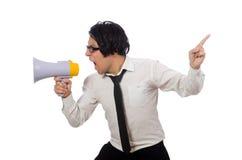 Το άτομο με το μεγάφωνο που απομονώνεται στο λευκό Στοκ Εικόνα