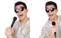 Το άτομο με mic που απομονώνεται στο λευκό Στοκ εικόνες με δικαίωμα ελεύθερης χρήσης