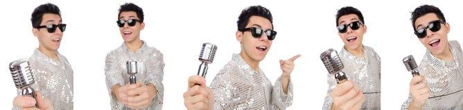 Το άτομο με mic που απομονώνεται στο λευκό Στοκ Φωτογραφία